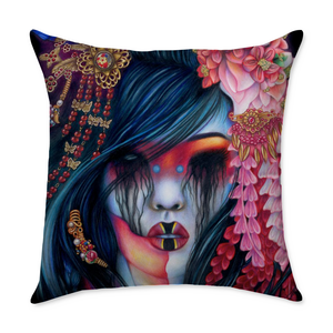 Liz Geisha Square Throw Pillow