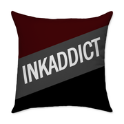 InkAddict Stripe Burgundy Square Throw Pillow