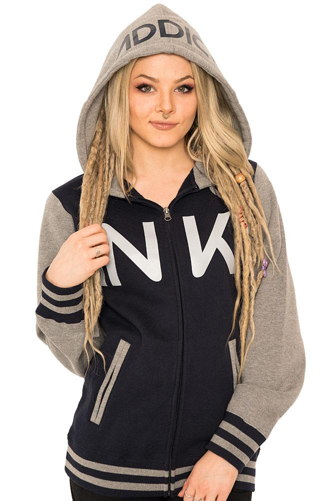 INK Unisex Varsity Navy/Gunmetal Heather Zip Hoodie