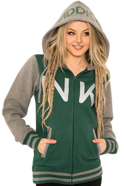 INK Unisex Varsity Hunter Green/Gunmetal Heather Zip Hoodie