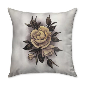 Hume Yellow Rose Throw Pillow