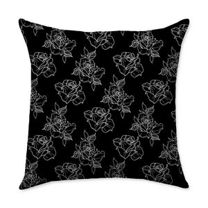 Timmy B Roses Outline Square Throw Pillow