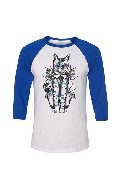 Drew Cat Unisex White/Blue Baseball Tee