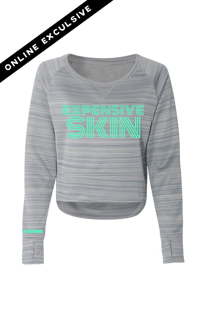Expensive Skin Lines Grey Striped Performance Fleece Crewneck Sweatshirt