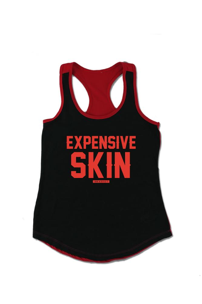 Expensive Skin Women's Colorblock Black/Red Racerback Tank