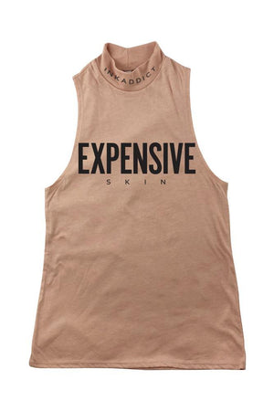 Expensive Skin III Peach Mock Neck Tank