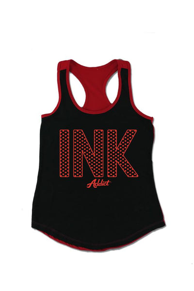 INK Hearts Women's Colorblock Black/Red Racerback Tank