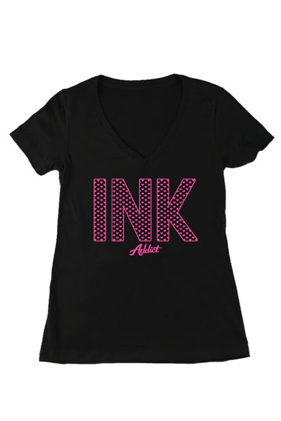 INK Hearts Women's Black V-Neck Tee