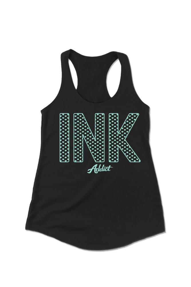 INK Hearts Women's Black Racerback Tank