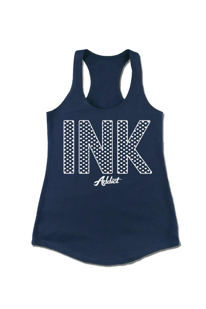 INK Hearts Women's Navy Racerback Tank