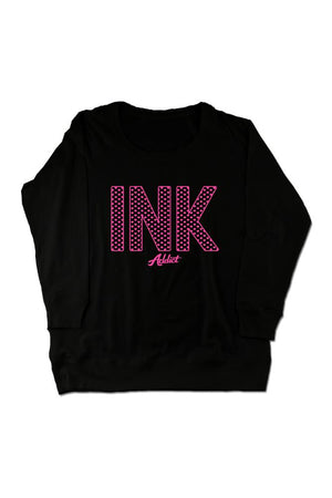 INK Hearts Women's Black Crew