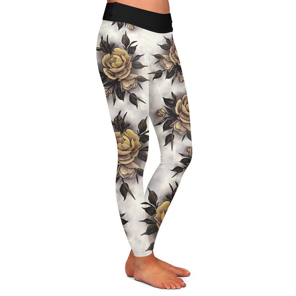 Hume Yellow Rose Womens Premium Leggings
