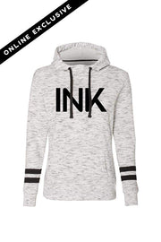 Ink White/Black Fleece Striped Sleeve Hooded Pullover