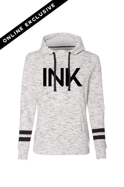 Ink White/Black Fleece Striped Sleeve Hoodie