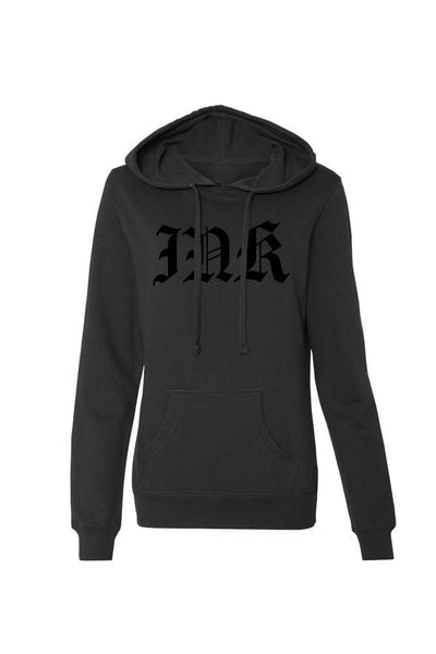 INK Lettering Women's Black Collection Lightweight Pullover Hoodie