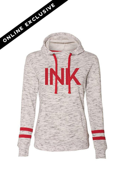 Ink White/Red Fleece Striped Sleeve Hooded Pullover