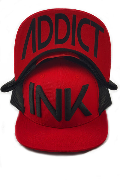 INK Red/Black Flat Bill Trucker