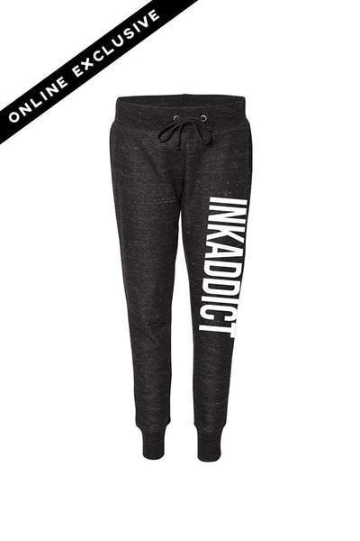 InkAddict Black/White Fleece Women's Jogger Pants