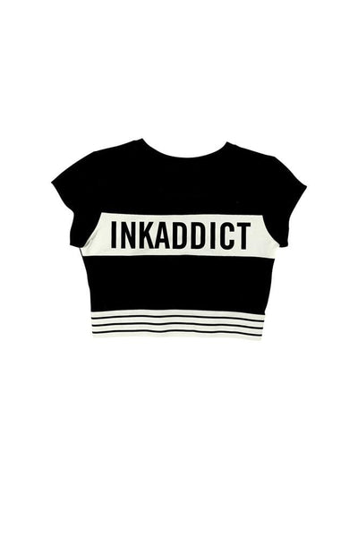 INKADDICT Women's Striped Active Crop Top