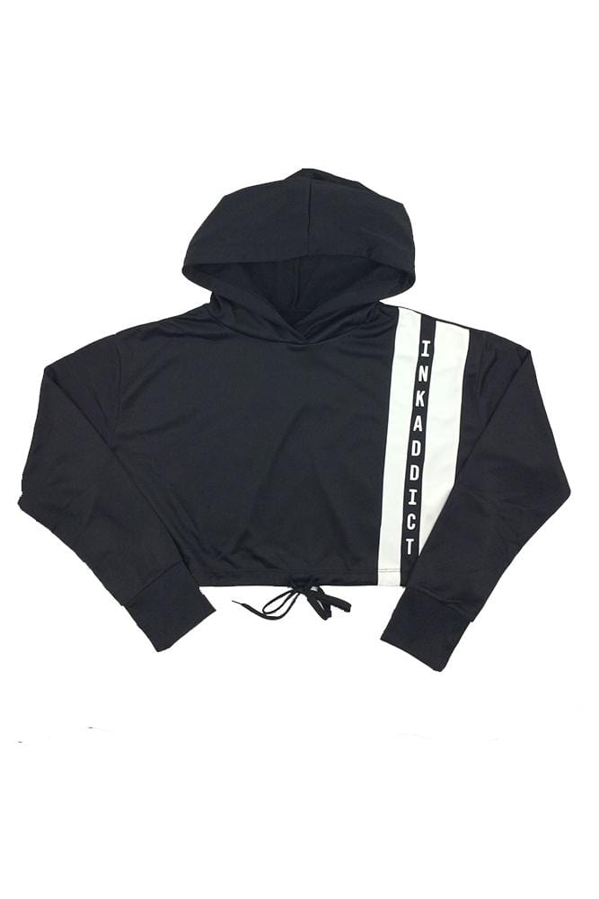 INKADDICT Women's Cinched Double Striped Hoodie