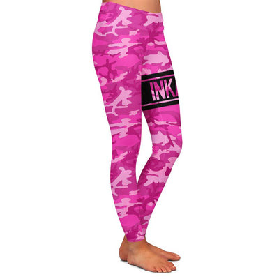 Varsity Camo Pink/Black Womens Premium Leggings