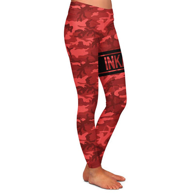 Varsity Camo Red/Black Womens Premium Leggings