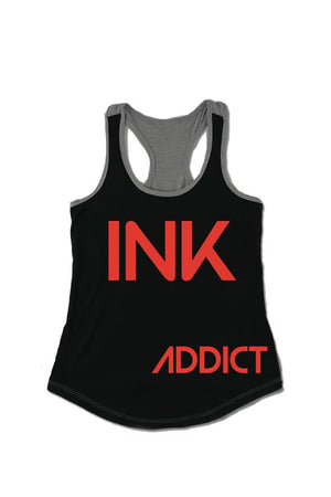 INK Women's Colorblock Black/Heather Grey Racerback Tank