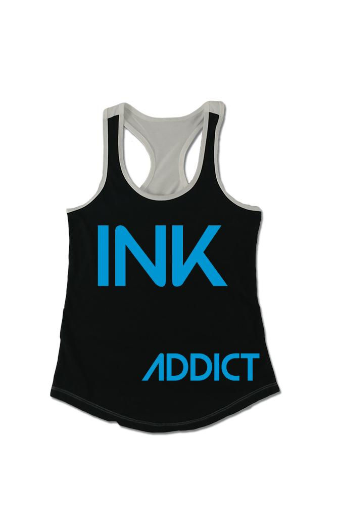 INK Women's Colorblock Black/White Racerback Tank
