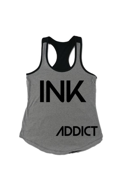 INK Women's Colorblock Heather Grey/Black Racerback Tank