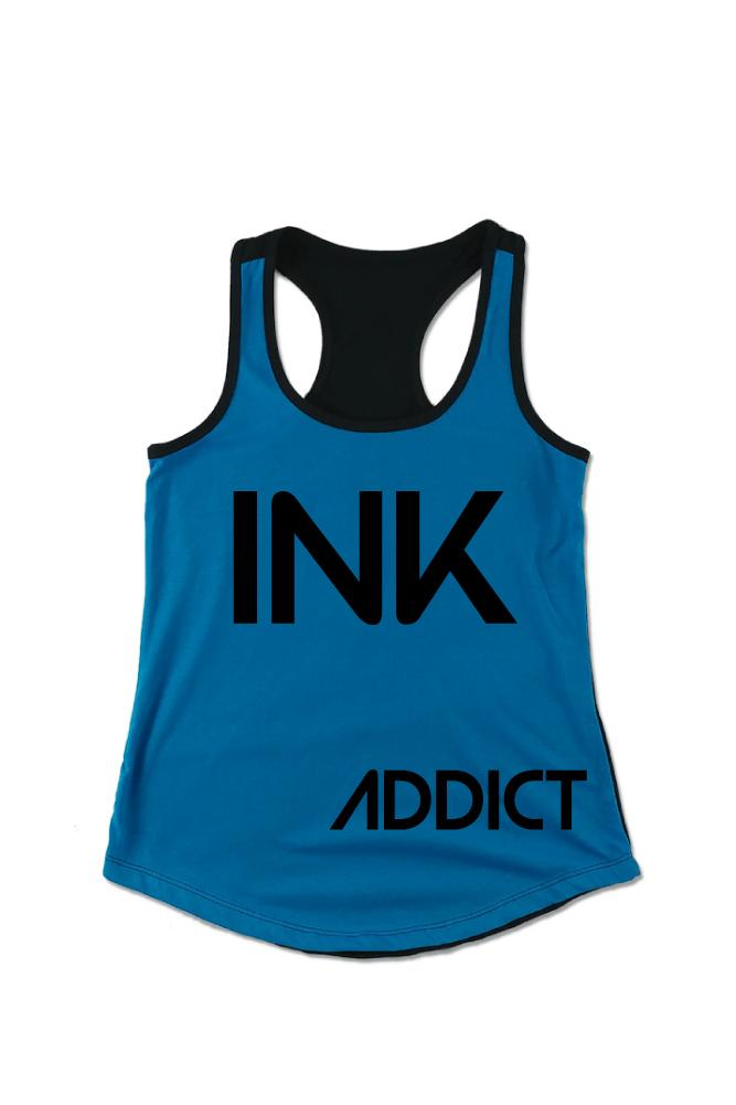 INK Women's Colorblock Turquoise/Black Racerback Tank