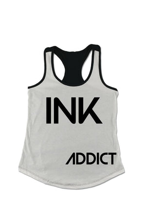 INK Women's Colorblock Racerback Tank - White/Black