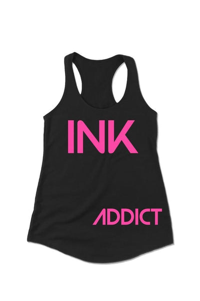 INK Women's Black/Pink Racerback Tank