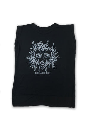 Sad Face Flowy Black Tee w/ Rolled Cuffs