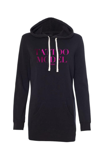 Tattoo Model Women's Pink Hoodie Dress