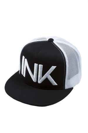 INK Black/White Flat Bill Trucker