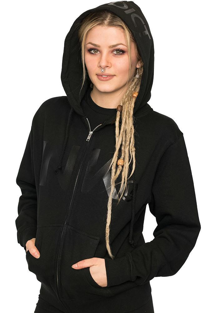 INK Women's Black Lightweight Zip Hoodie