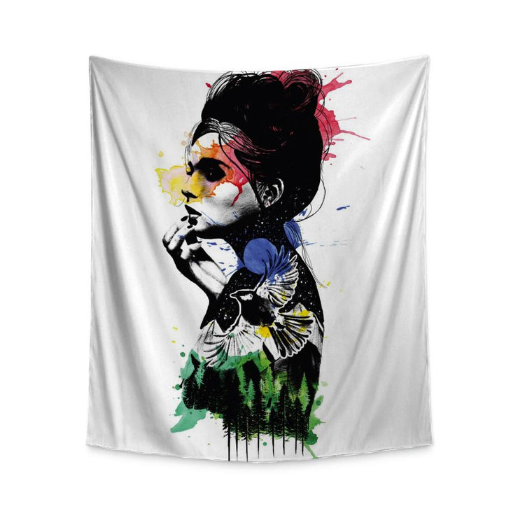 Austin Girl Watercolor Wall Tapestry