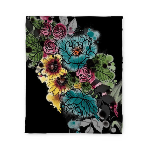Kristel Flowers Fleece Blanket