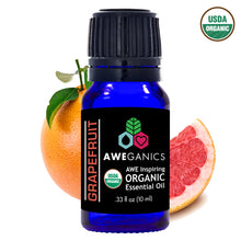 Aweganics USDA Organic Essential Oils for Energy, 3 Pack Oil Blends Aromatherapy Gift Set, 100% Pure, Natural, Best Energy Boosting Scented-Oils, Grapefruit, Lemon, Peppermint