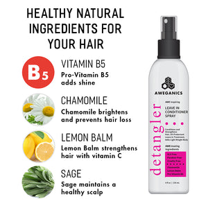 Aweganics Leave-in Conditioner Detangler Spray - AWE Inspiring Pro-Vitamin B5 Conditioning Hair Detangling Spray
