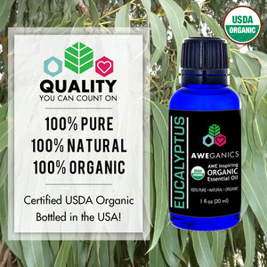Eucalyptus Essential Oil, 1 Oz, USDA Organic, 100% Pure & Natural Therapeutic Grade