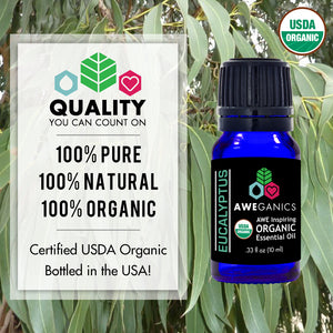 Eucalyptus Essential Oil, 10 mL, USDA Organic, 100% Pure & Natural Therapeutic Grade