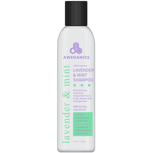 Aweganics Lavender Mint Hair Shampoo - AWE Inspiring Natural Aromatherapy Invigorating Purple Shampoos