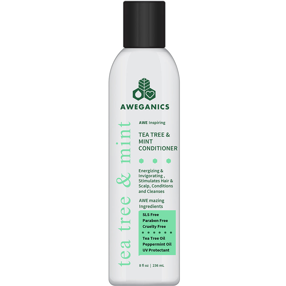 Aweganics Tea Tree Mint Conditioner - AWE Inspiring Natural Aromatherapy Invigorating Peppermint Conditioner