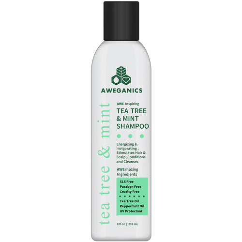Aweganics Tea Tree Mint Shampoo - AWE Inspiring Natural Aromatherapy Invigorating Peppermint Shampoo