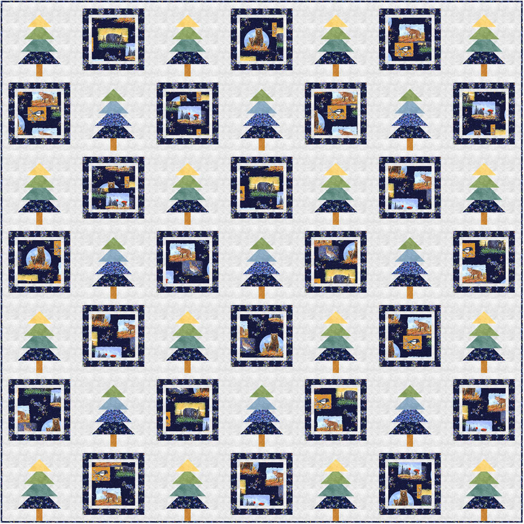 """""""Bountiful Blueberries"""" is a Free Christmas Quilt Pattern designed by Wendy Sheppard from P & B Textiles"""