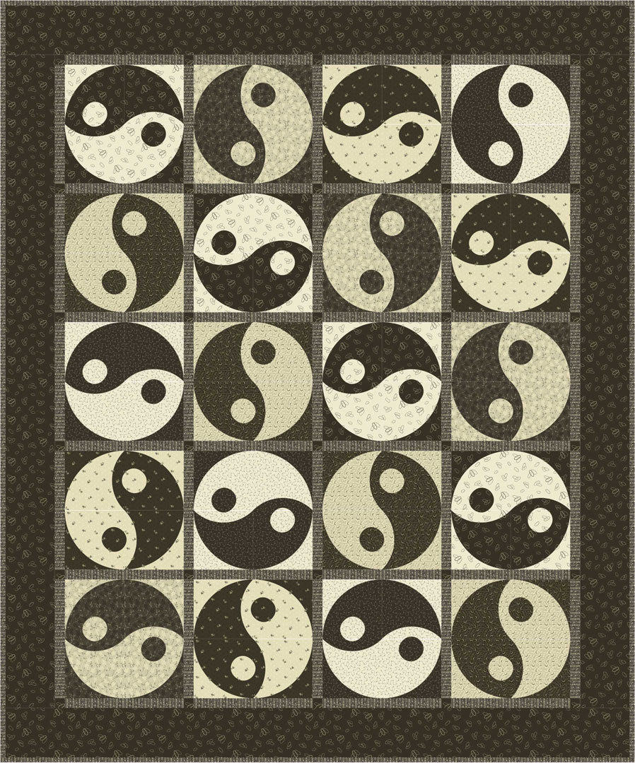 Yin & Yang Quilt<br>by Toby Lischko<br>Classic Black & Tan Collection<br>Pattern for Purchase<br>Available May 2019