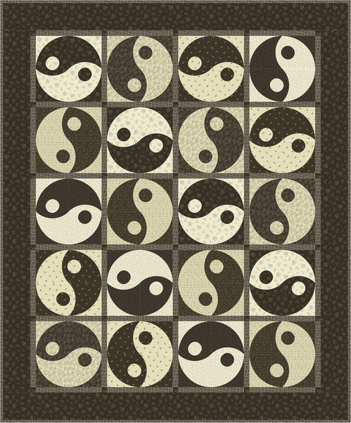 Yin & Yang Quilt<br>by Toby Lischko<br>Classic Black & Tan Collection<br>Pattern for Purchase<br>Available NOW!
