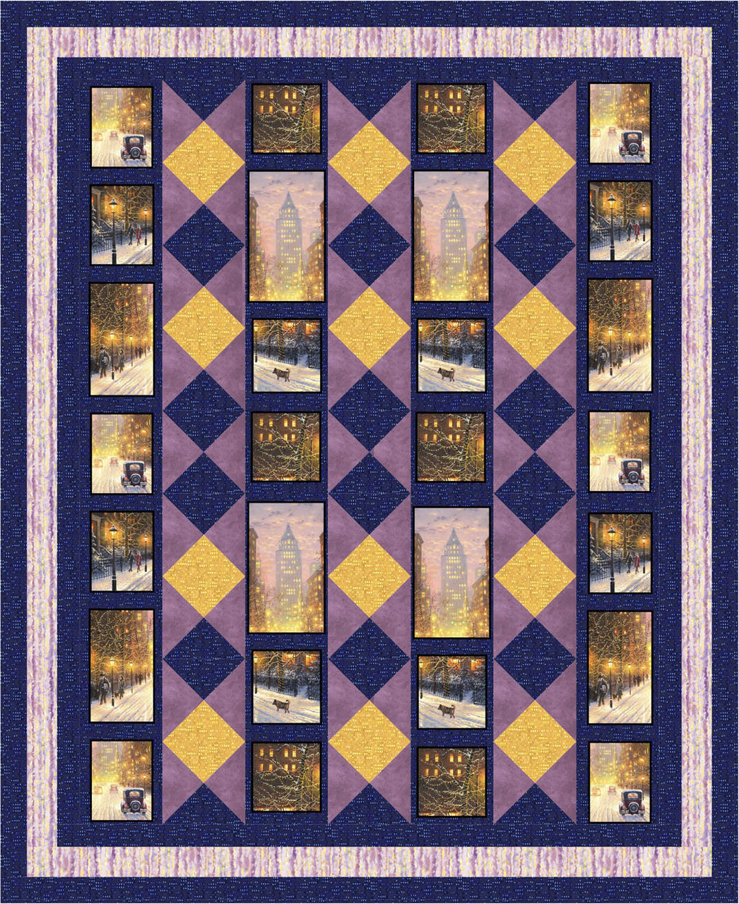 City Lights Lap Quilt<br>by Gina Gempesaw<br>Available Now