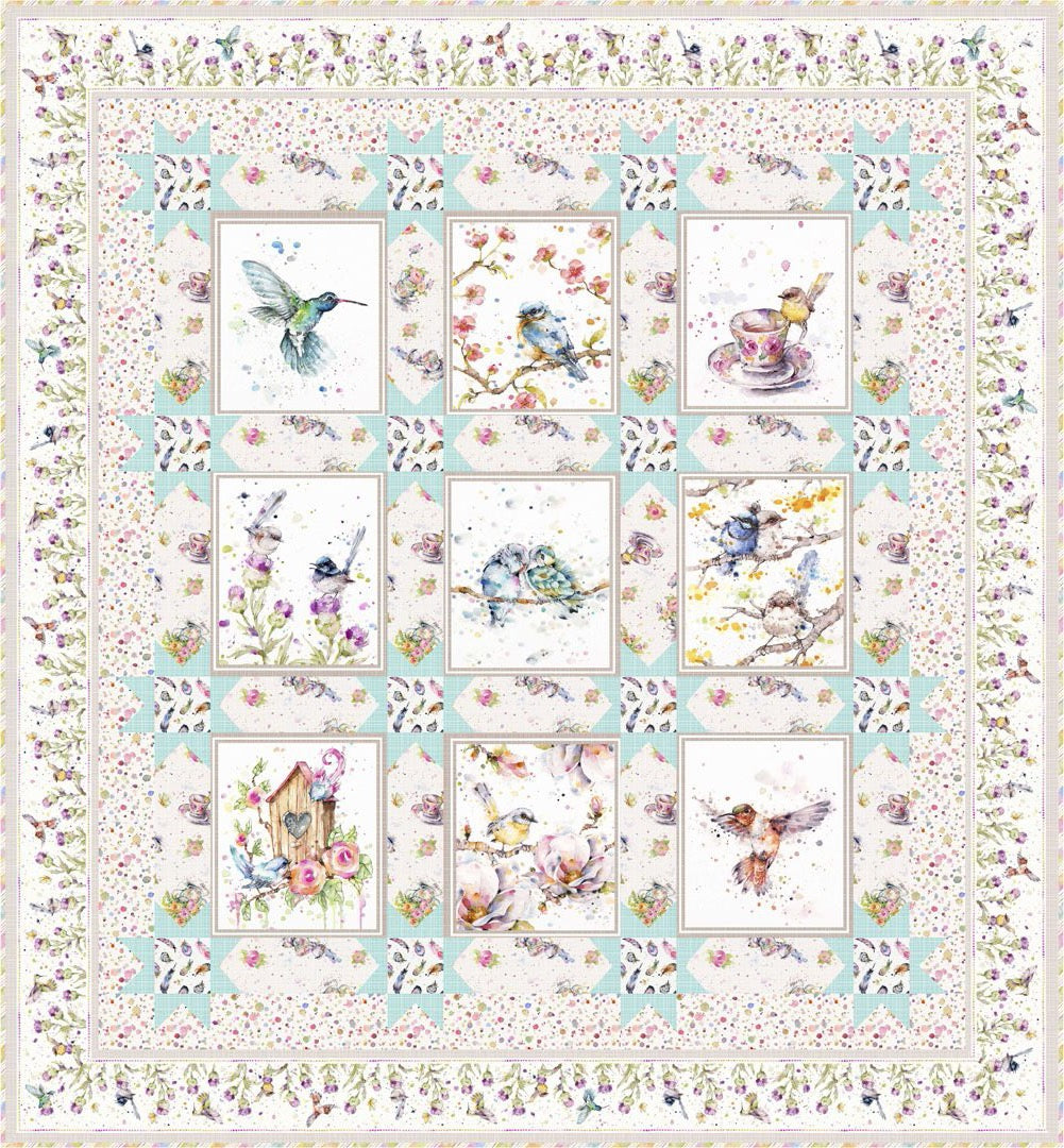 Flowers & Feathers<br>Quilt & Pillow by Stacey Day<br>Available June 2021.
